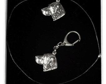 NEW, Vizsla, dog keyring and necklace in casket, ELEGANCE set, limited edition, ArtDog . Dog keyring for dog lovers