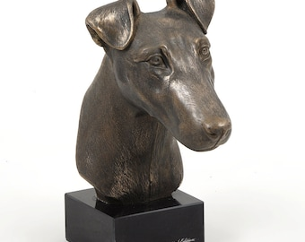 Fox Terrier Smooth Haired, dog marble statue, limited edition, ArtDog. Made of cold cast bronze. Perfect gift. Limited edition