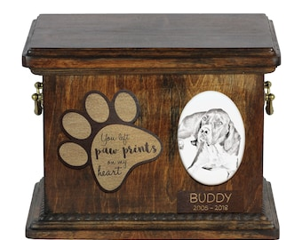 Urn for dog's ashes with ceramic plate and description - English Pointer, ART-DOG Cremation box, Custom urn.