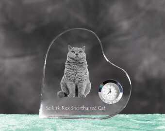 Selkirk rex shorthaired- crystal clock in the shape of a heart with the image of a pure-bred cat.