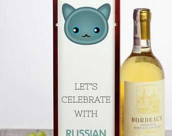 Let's celebrate with Russian Blue cat. A wine box with the cute Art-Dog cat