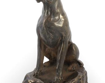 Boxer sitting (no desk), dog wooden base statue, limited edition, ArtDog