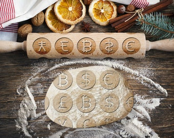 CURRENCIES. Engraved rolling pin for Cookies, Embossing Rollingpin, Laser Engraved Rolling-pin. Decorating Roller