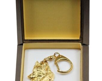 NEW, Belgian Shepherd, Malinois, millesimal fineness 999, dog keyring, in casket, keychain, limited edition, ArtDog