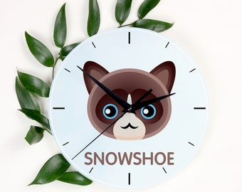 A clock with a Snowshoe cat. A new collection with the cute Art-Dog cat