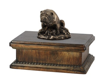 Exclusive Urn for dog's ashes with a Bulldog, English Bulldog mama statue, ART-DOG. New model Cremation box, Custom urn.