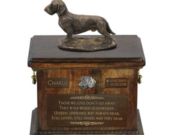 Dachshund wirehaired - Exclusive Urn for dog ashes with a statue, relief and inscription. ART-DOG. Cremation box, Custom urn.