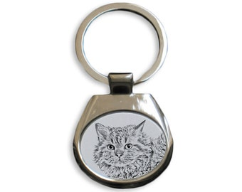 Selkirk rex longhaired - NEW collection of keyrings with images of purebred cats, unique gift, sublimation