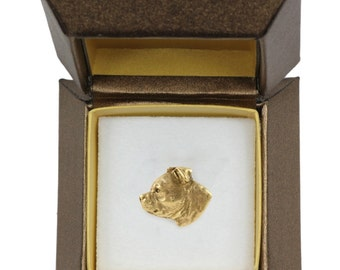 NEW, American Staffordshire Terrier, Amstaff dog pin, in casket, gold plated, limited edition, ArtDog