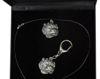 NEW, Norfolk Terrier, dog keyring and necklace in casket, DELUXE set, limited edition, ArtDog . Dog keyring for dog lovers