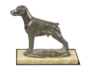 Dobermann , dog sand marble base statue, limited edition, ArtDog. Made of cold cast bronze. Solid, perfect gift. Limited edition.