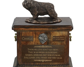 Polish Lowland Sheepdog - Exclusive Urn for dog ashes with a statue, relief and inscription. ART-DOG. Cremation box, Custom urn.