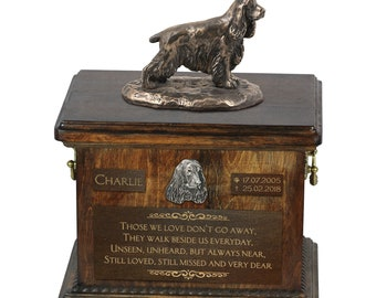 English Cocker Spaniel - Exclusive Urn for dog ashes with a statue, relief and inscription. ART-DOG. Cremation box, Custom urn.