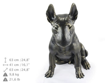 Bullterrier (sitting), dog natural size statue, limited edition, ArtDog