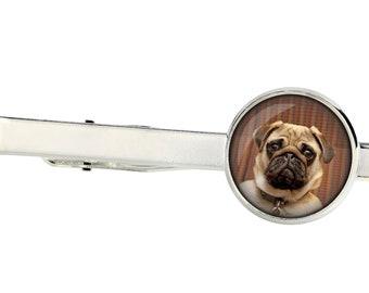 Pug. Tie clip for dog lovers. Photo jewellery. Men's jewellery. Handmade