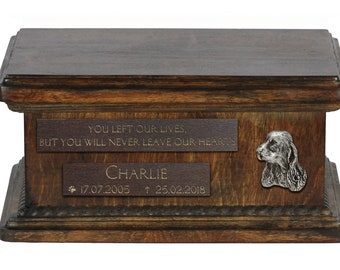 Urn for dog's ashes with relief and sentence with your dog name and date - Clumber Spaniel, ART-DOG. Low model. Cremation box, Custom urn.