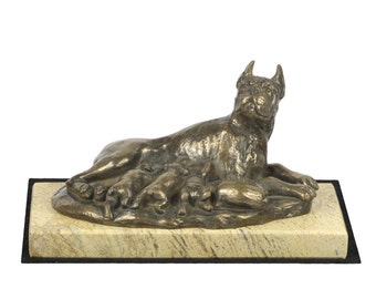 Boxer , dog sand marble base statue, limited edition, ArtDog. Made of cold cast bronze. Perfect gift. Limited edition