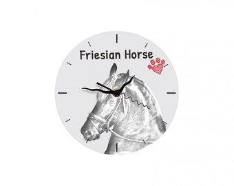 Friesian, Frisian, Free standing MDF floor clock with an image of a horse.