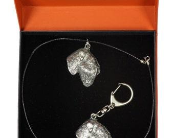 NEW, Black Russian Terrier, dog keyring and necklace in casket, PRESTIGE set, limited edition, ArtDog . Dog keyring for dog lovers