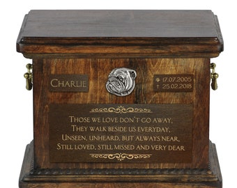 Urn for dog's ashes with relief and sentence with your dog name and date - Bulldog, English Bulldog, ART-DOG.. Cremation box, Custom urn.