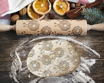 DREAMCATCHER. Engraved rolling pin for Cookies, Embossing Rollingpin, Laser Engraved Rolling-pin. Decorating Roller