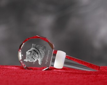 Highland Lynx, Crystal Wine Stopper with cat, Wine and Cat Lovers, High Quality, Exceptional Gift. New Collection
