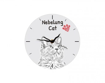 Nebelung, Free standing MDF floor clock with an image of a cat.