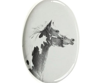 American Paint Horse - Gravestone oval ceramic tile with an image of a horse.