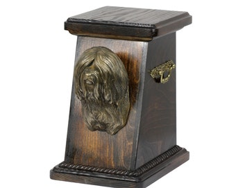 Urn for dog's ashes with a Tibetan Terrier, ART-DOG Cremation box, Custom urn. Cremation box, Custom urn.