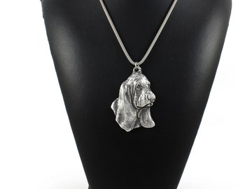 NEW, Basset Hound, dog necklace, silver cord 925, limited edition, ArtDog