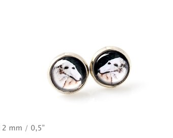 Borzoi, Russian Wolfhound. Pet in your ear. Earrings. Photojewelry. Handmade.