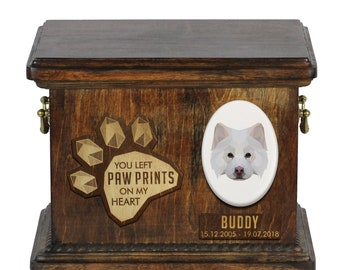 Urn for dog ashes with ceramic plate and sentence - Geometric Finnish Lapphund, ART-DOG. Cremation box, Custom urn.