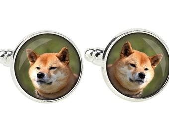 Shiba Inu. Cufflinks for dog lovers. Photo jewellery. Men's jewellery. Handmade