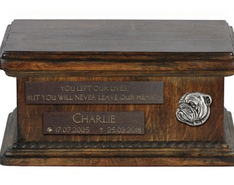 Urn for dog's ashes with relief and sentence with your dog name and date - Bulldog, English Bulldog, ART-DOG. Low model.