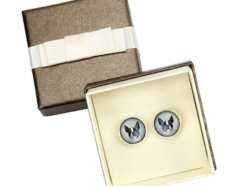 Boston Terrier. Cufflinks with box for dog lovers. Photo jewellery. Men's jewellery. Handmade