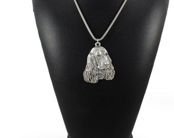 NEW, English Cocker Spaniel, dog necklace, silver chain 925, limited edition, ArtDog