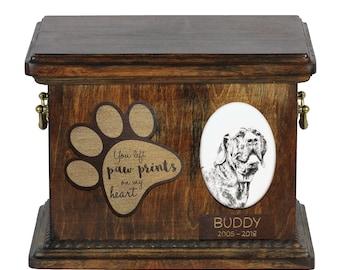 Urn for dog's ashes with ceramic plate and description - Brazilian Mastiff, ART-DOG Cremation box, Custom urn.