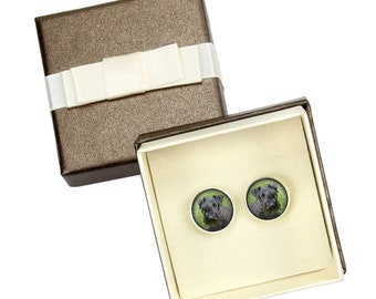 Cesky Terrier. Cufflinks with box for dog lovers. Photo jewellery. Men's jewellery. Handmade