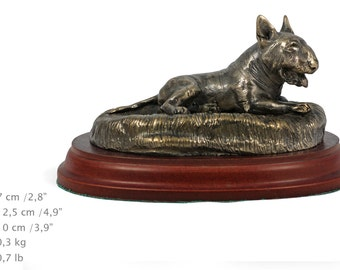 Bull Terrier (lying happy), dog wooden base statue, limited edition, ArtDog