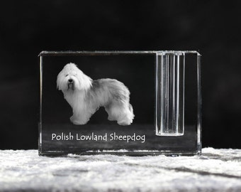 Polish Lowland Sheepdog, crystal pen holder with dog, souvenir, decoration, limited edition, Collection
