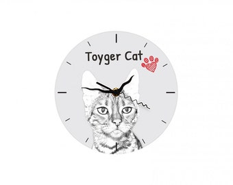 Toyger, Free standing MDF floor clock with an image of a cat.