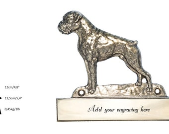 Boxer uncropped, dog plaque, can be engraved, limited edition, ArtDog