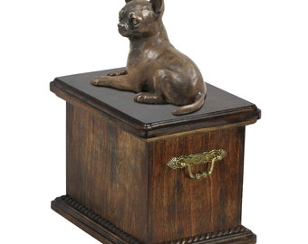 Urn for dog's ashes with a Chihuahua statue, ART-DOG Cremation box, Custom urn.