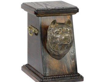 Urn for dog's ashes with a Akita Inu statue, ART-DOG Cremation box, Custom urn.