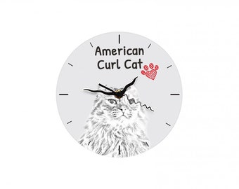 American Curl, Free standing MDF floor clock with an image of a cat.