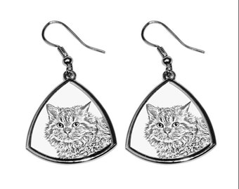 Selkirk rex longhaired, collection of earrings with images of purebred cats, unique gift. Collection!