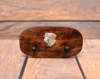 French Mastiff - Unique wooden hanger with a relief of a purebred dog. Perfect for a collar, harness or leash.