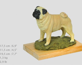 Pug, dog woodenbase statue, painted, limited edition, make your own statue, ArtDog. Made of cold cast bronze. Perfect gift. Limited edition
