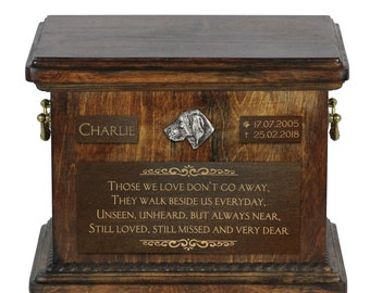Urn for dog's ashes with relief and sentence with your dog name and date - Vizsla, ART-DOG. Cremation box, Custom urn.