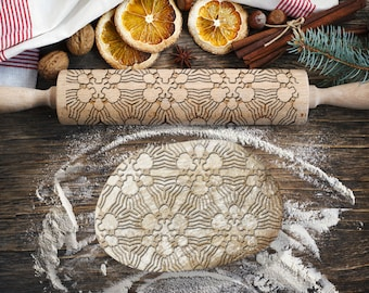 MOSAIC 4. Engraved rolling pin for Cookies, Embossing Rollingpin, Laser Engraved Rolling-pin. Decorating Roller